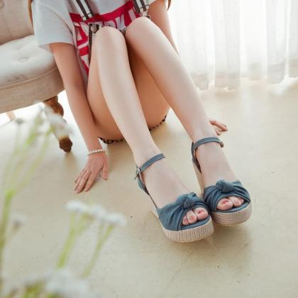 Denim Wedge Sandals Featuring Bow A..