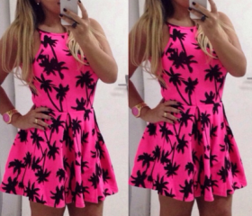 Fashion Coconut Tree Print Dress