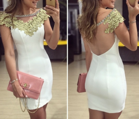 Slim White Stitching Lace Dress