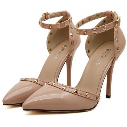 Nude Pointed Toe Ankle Strap High Heel Stilettos Featuring Rivets Detailing